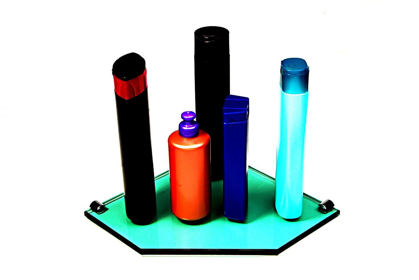 Porta Shampoo de Canto Reto em Vidro Verde Lapidado - Aquabox  - 25cmx25cmx10mm