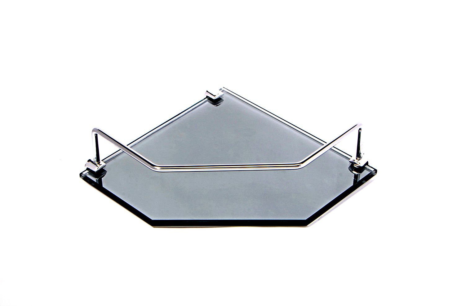 Porta Shampoo de Canto Reto em Vidro Refletivo Lapidado - Aquabox  - 20cmx20cmx8mm