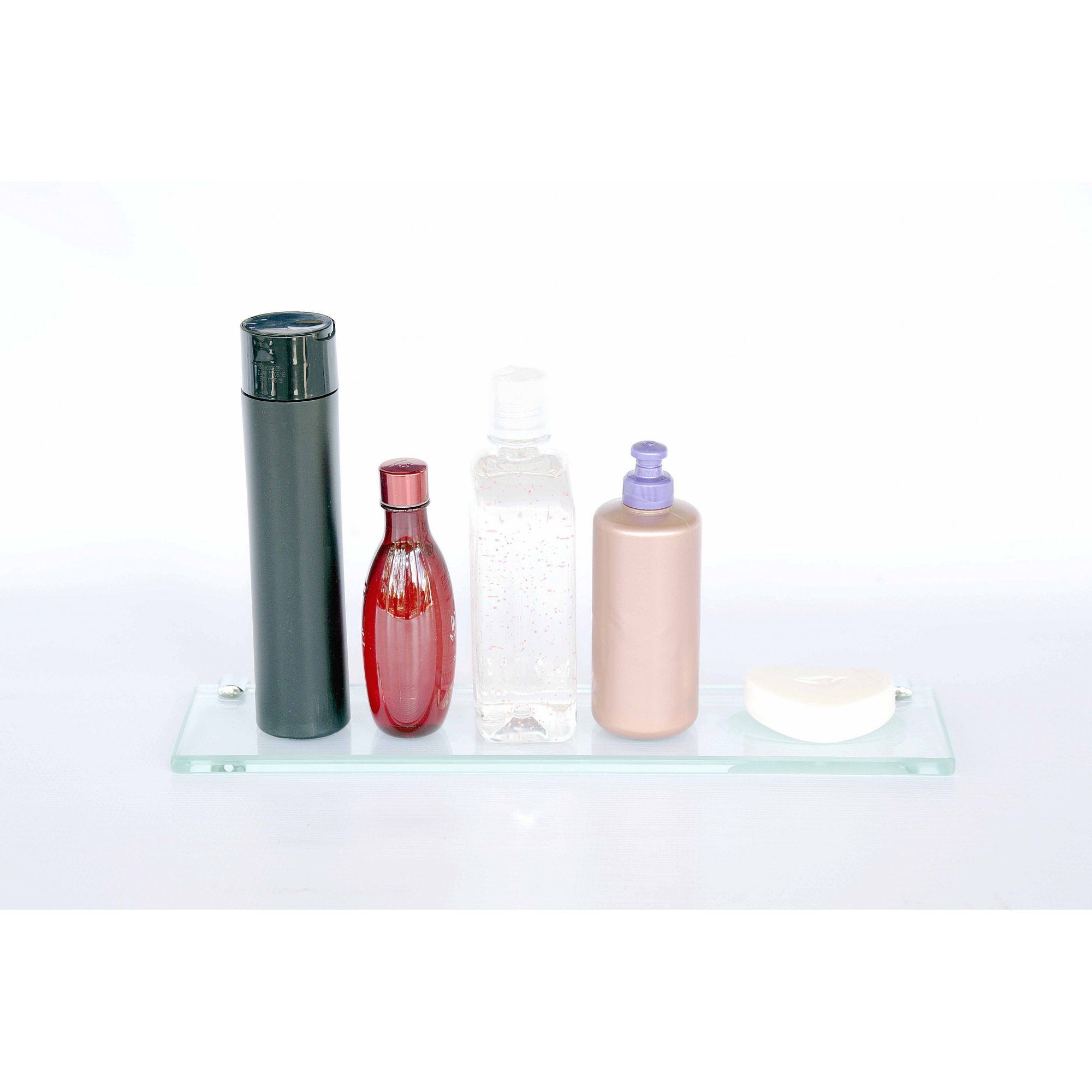 Porta Shampoo Reto com Rebaixo Saboneteira Vidro Incolor Lapidado - Aquabox  - 40cmx9cmx8mm