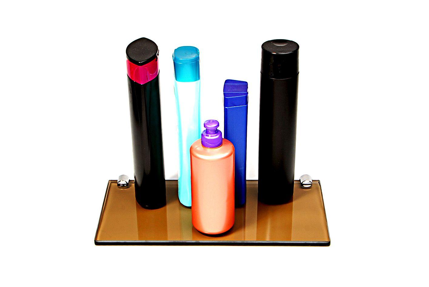 Porta Shampoo Reto em Vidro Bronze Lapidado - Aquabox  - 30cmx14cmx8mm