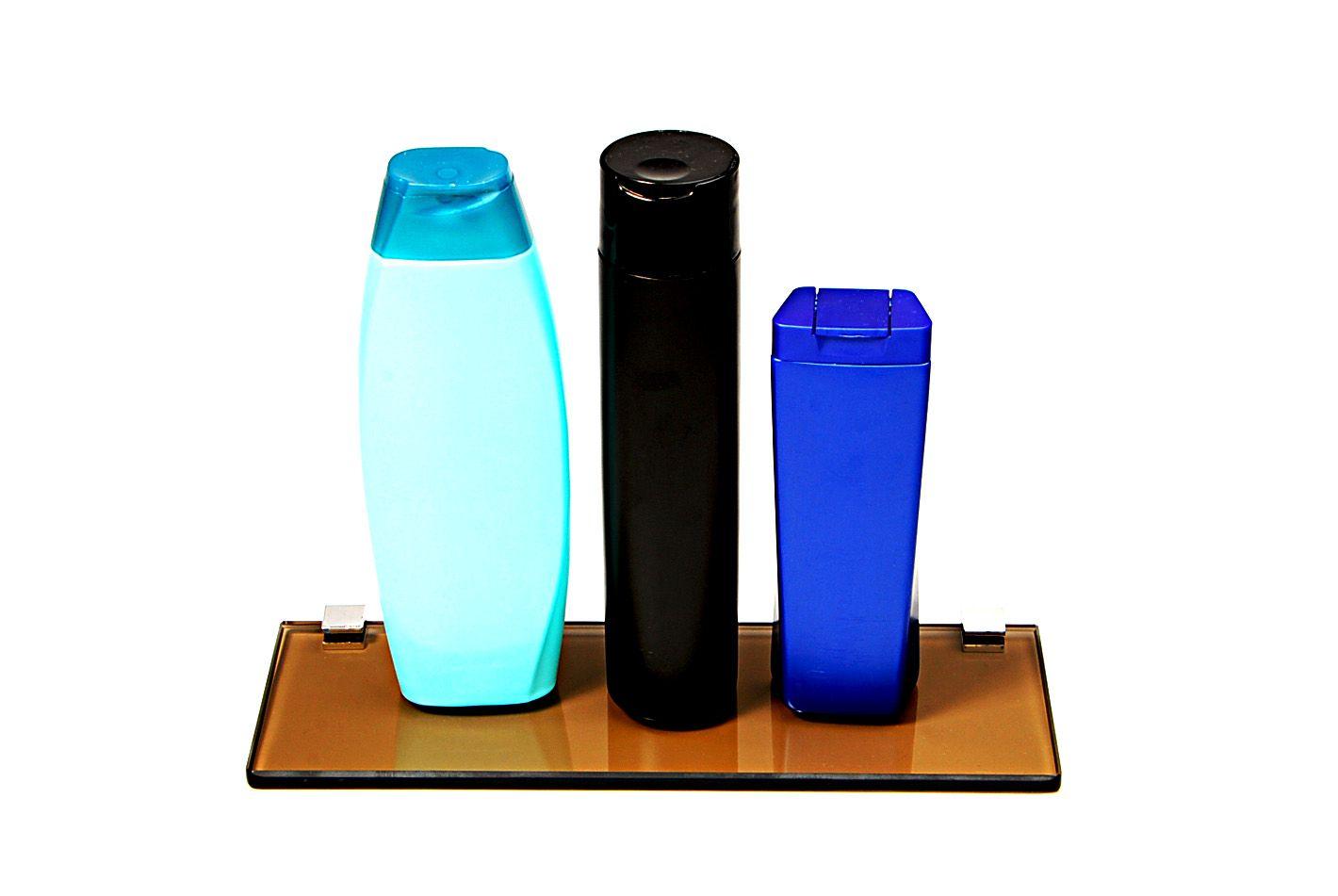 Porta Shampoo Reto em Vidro Bronze Lapidado - Aquabox  - 30cmx9cmx8mm