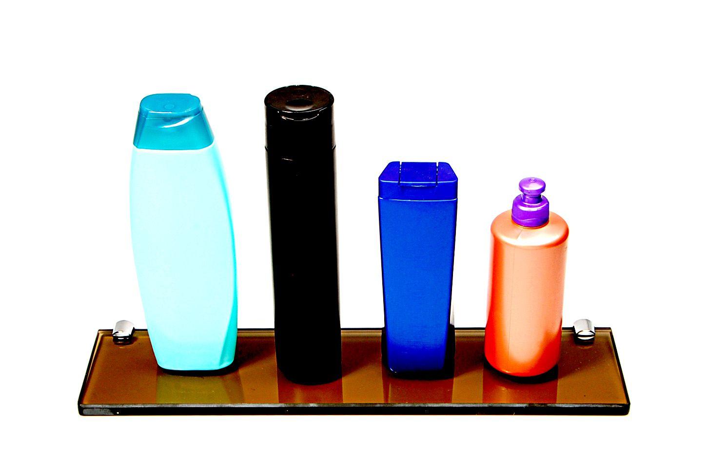 Porta Shampoo Reto em Vidro Bronze Lapidado - Aquabox  - 40cmx9cmx10mm