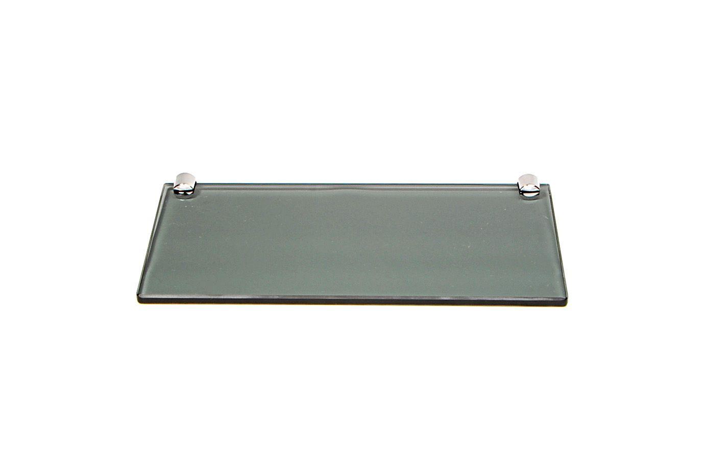 Porta Shampoo Reto em Vidro Fumê Lapidado - Aquabox  - 30cmx14cmx8mm
