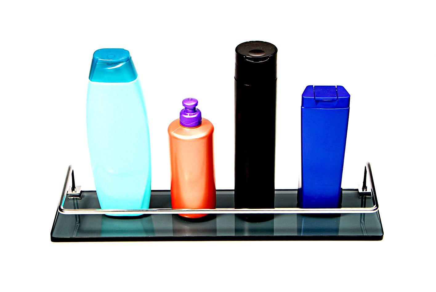 Porta Shampoo Reto em Vidro Fumê Lapidado - Aquabox  - 40cmx9cmx8mm
