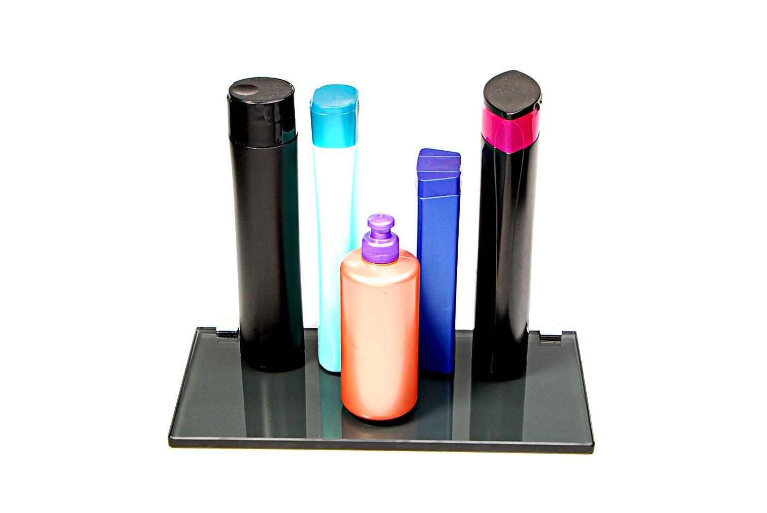 Porta Shampoo Reto em Vidro Fumê Lapidado - Aquabox  - 30cmx14cmx10mm