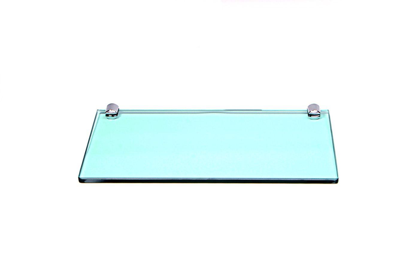 Porta Shampoo Reto em Vidro Verde Lapidado - Aquabox  - 30cmx14cmx8mm