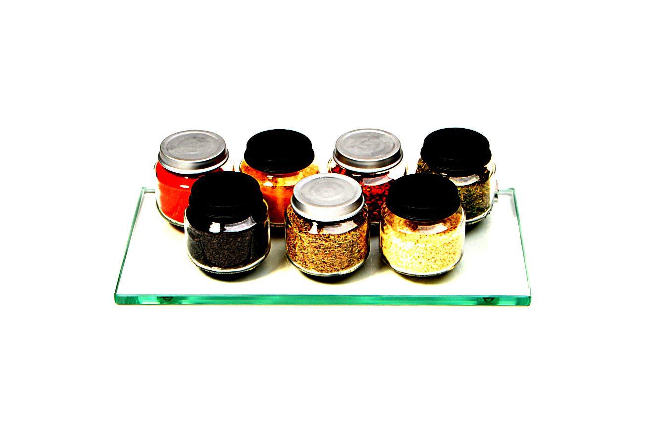 Porta Shampoo Reto em Vidro Incolor Lapidado - Aquabox  - 30cmx14cmx10mm