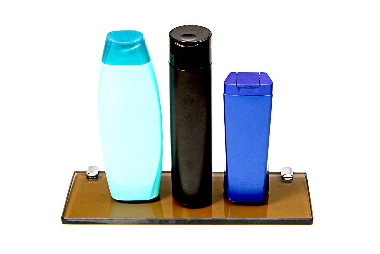 Porta Shampoo Reto em Vidro Bronze Lapidado - Aquabox  - 30cmx9cmx10mm