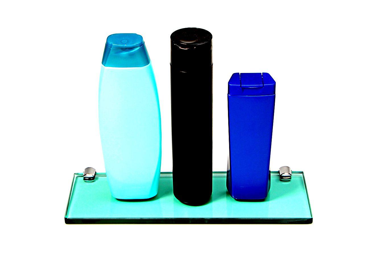 Porta Shampoo Reto em Vidro Verde Lapidado - Aquabox  - 30cmx9cmx10mm