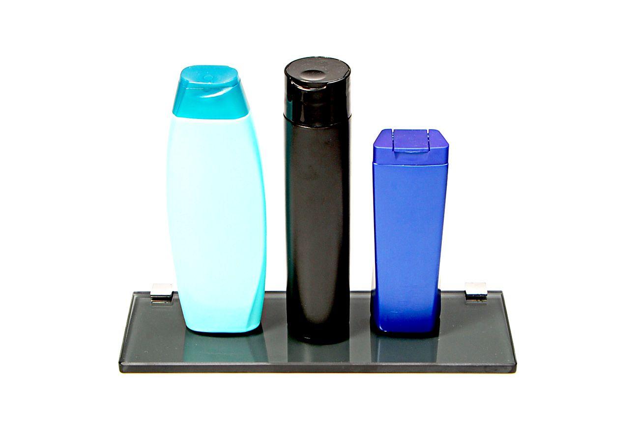 Porta Shampoo Reto em Vidro Fumê Lapidado - Aquabox  - 30cmx9cmx10mm