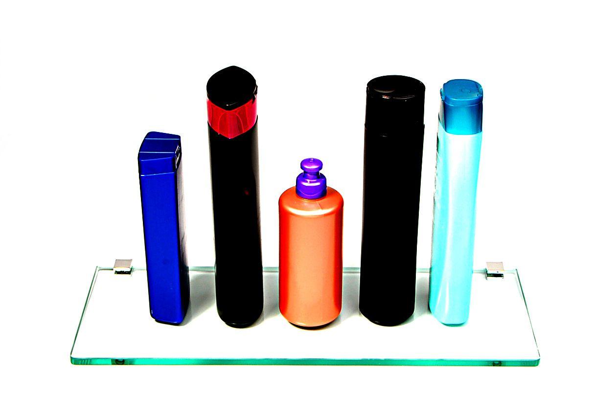 Porta Shampoo Reto em Vidro Incolor Lapidado - Aquabox  - 40cmx14cmx8mm