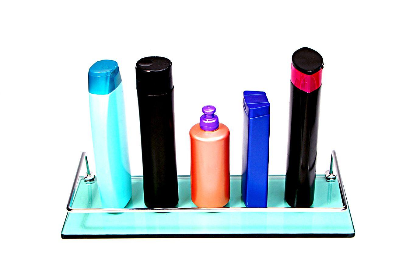 Porta Shampoo Reto em Vidro Verde Lapidado- Aquabox  - 40cmx14cmx8mm