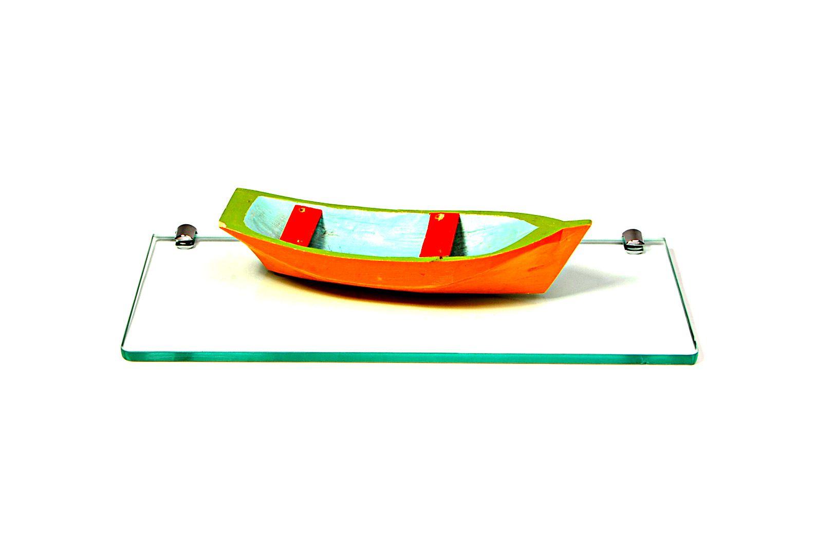 Porta Shampoo Reto em Vidro Incolor Lapidado - Aquabox  - 40cmx14cmx10mm