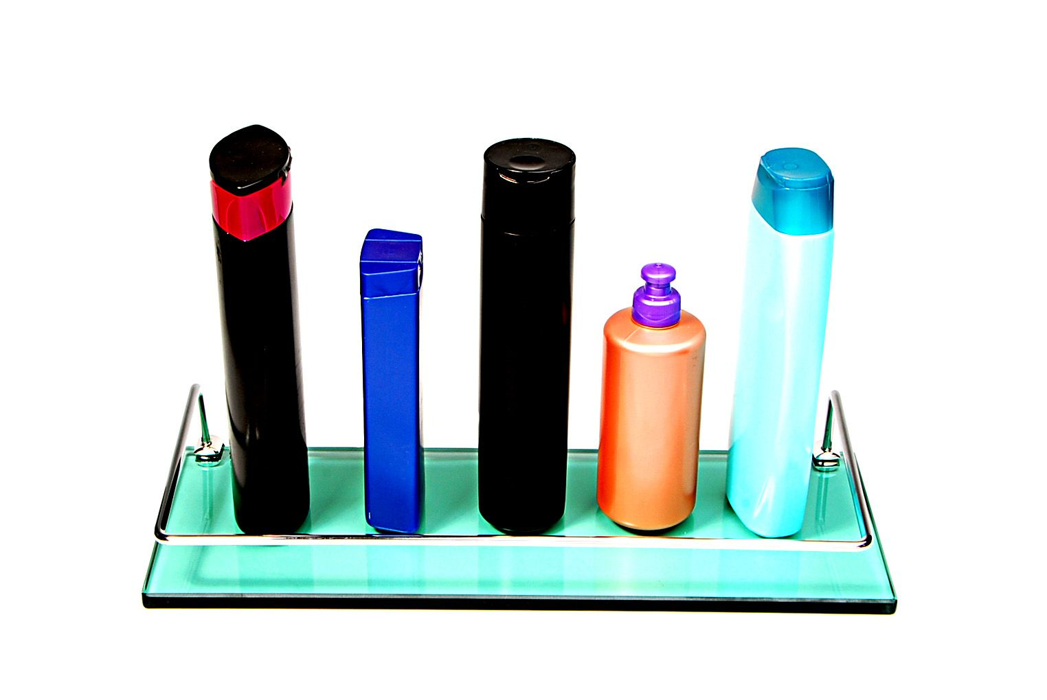Porta Shampoo Reto em Vidro Verde Lapidado - Aquabox  - 40cmx14cmx10mm