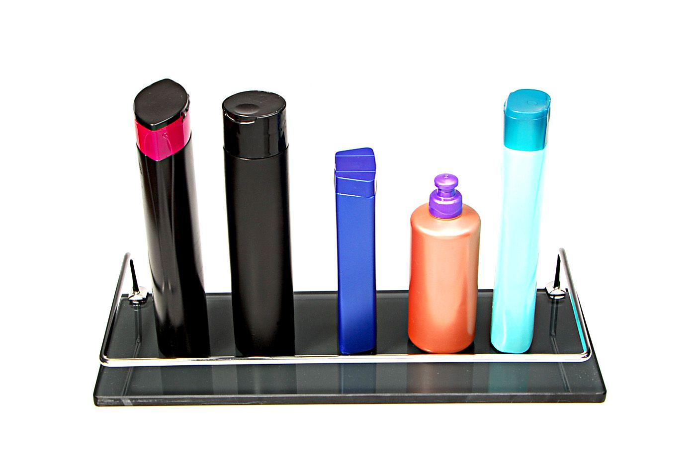 Porta Shampoo Reto em Vidro Fumê Lapidado - Aquabox  - 40cmx14cmx10mm