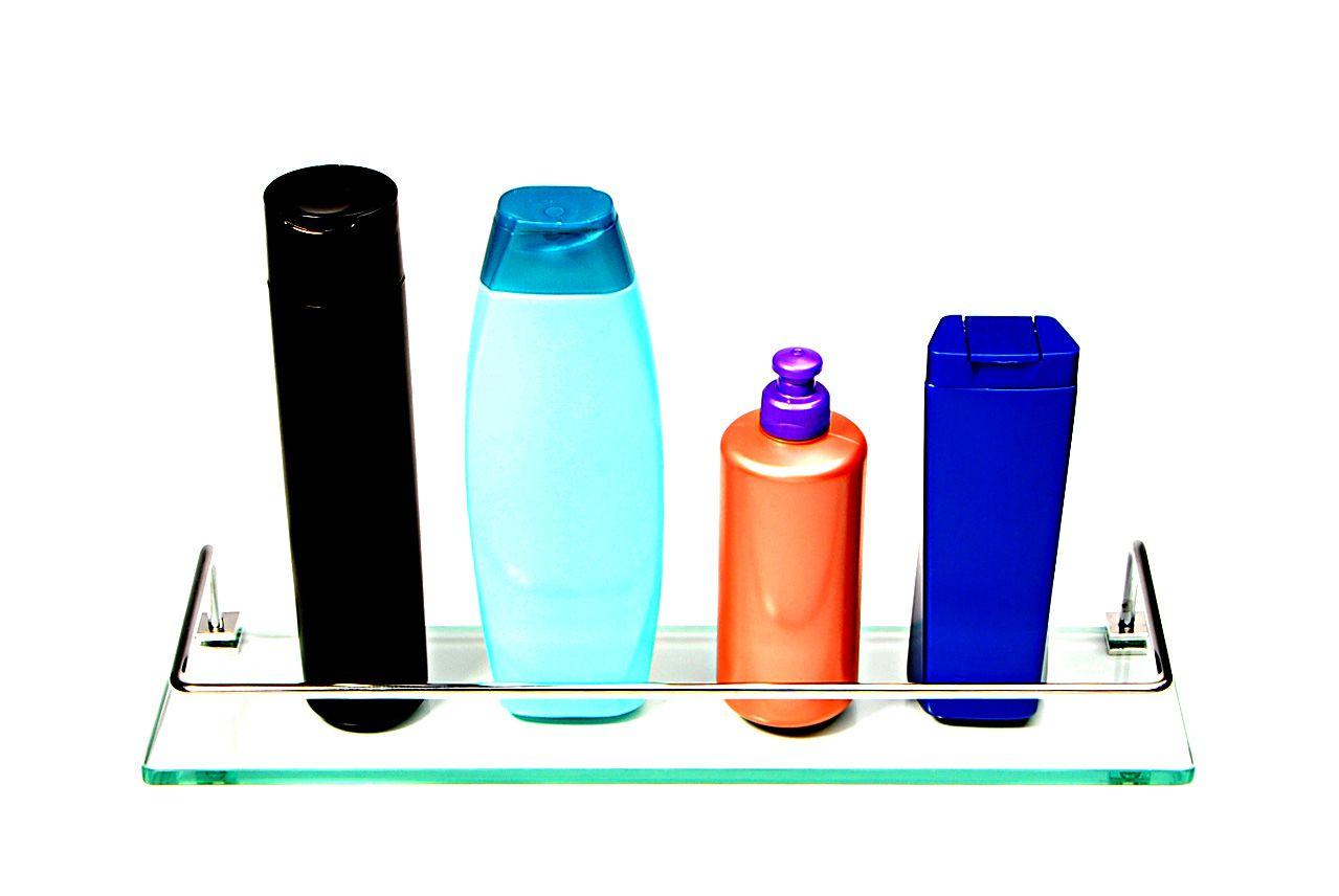 Porta Shampoo Reto em Vidro Incolor Lapidado - Aquabox  - 40cmx9cmx8mm