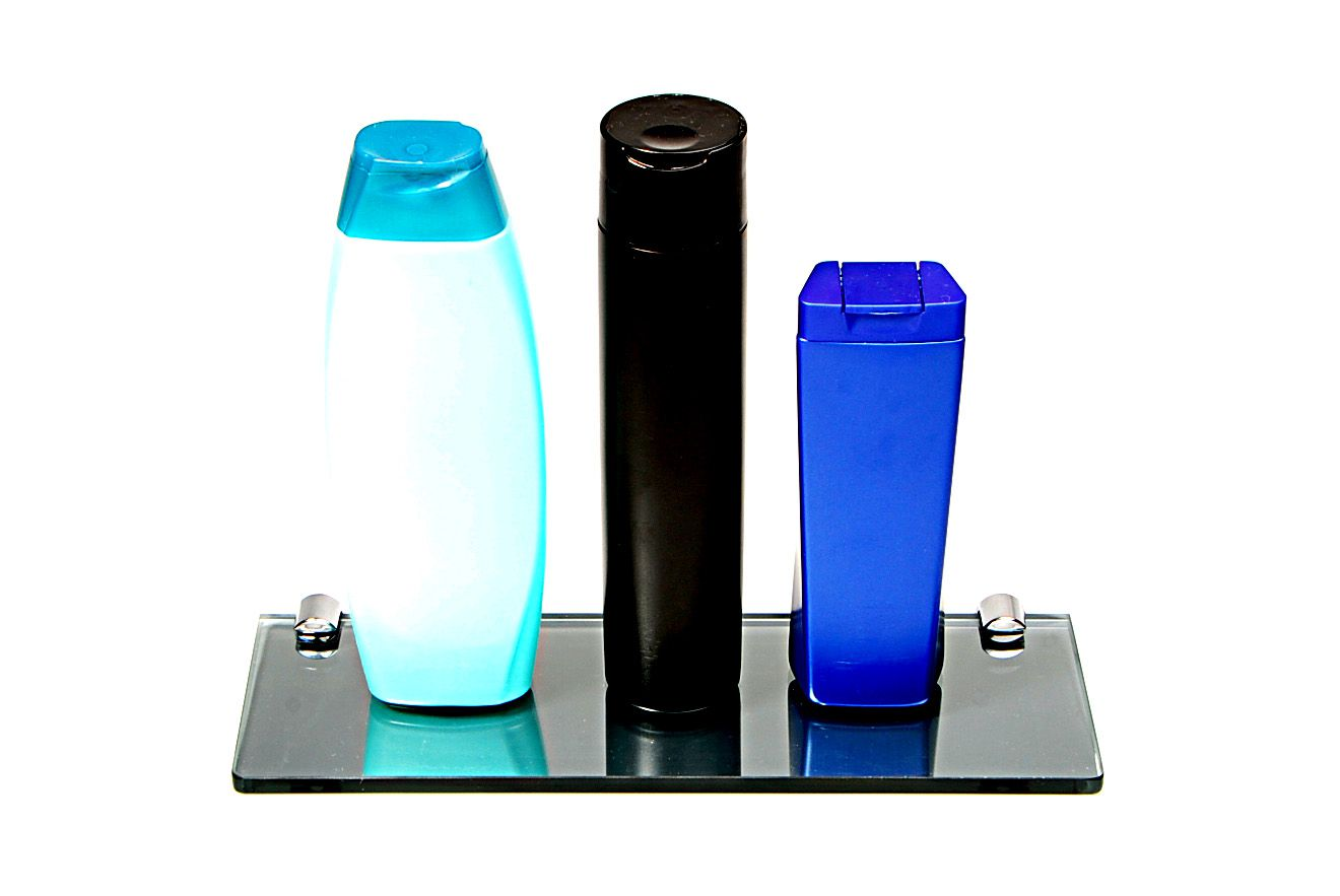 Porta Shampoo Reto em Vidro Refletivo Lapidado - Aquabox  - 30cmx9cmx8mm