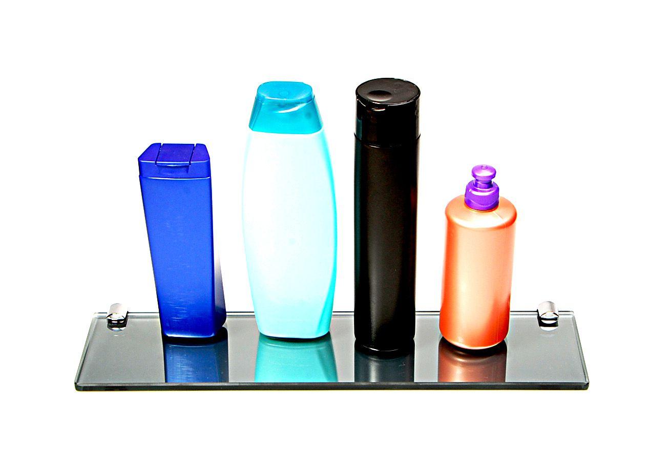 Porta Shampoo Reto em Vidro Refletivo Lapidado - Aquabox  - 40cmx9cmx8mm
