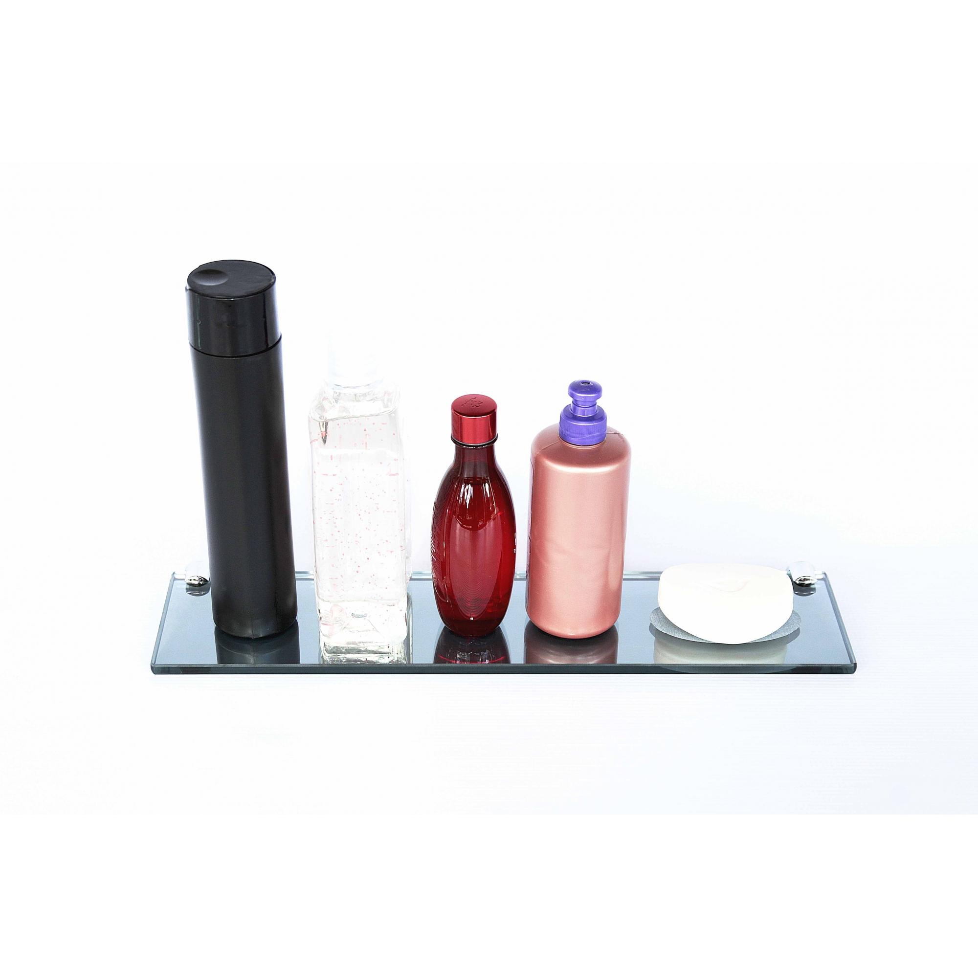 Porta Shampoo Reto Rebaixo para Sabonete em Vidro Refletivo Lapidado - Aquabox  - 40cmx9cmx8mm