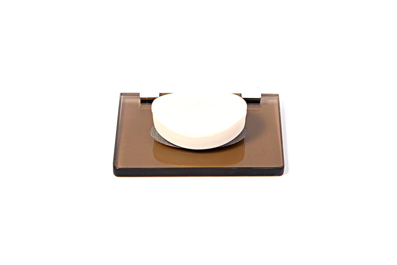 Saboneteira em Vidro Bronze Lapidado - Aquabox  - 14cmx9cmx8mm.