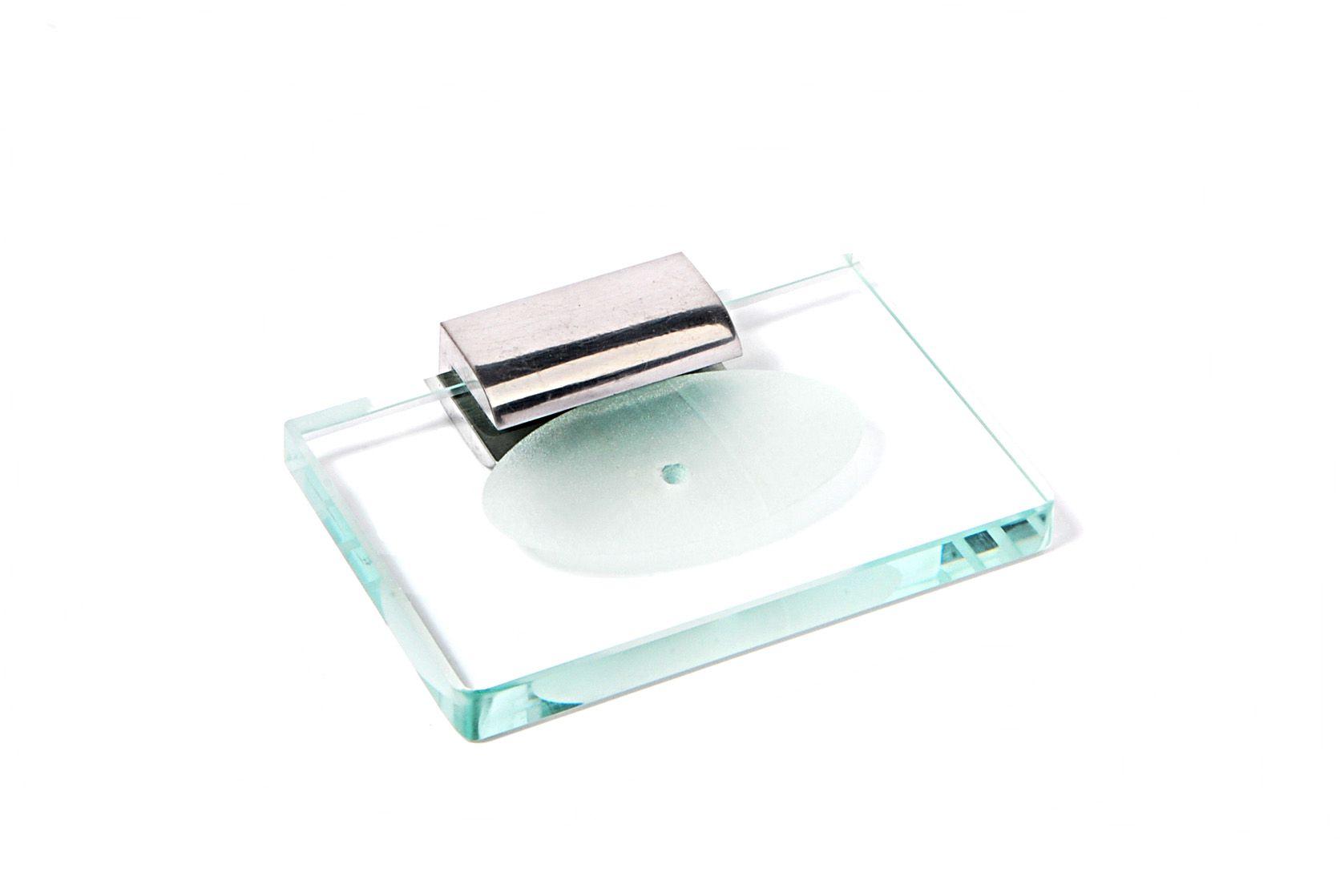 Saboneteira em Vidro Incolor Lapidado - Aquabox  - 14cmx9cmx15mm.