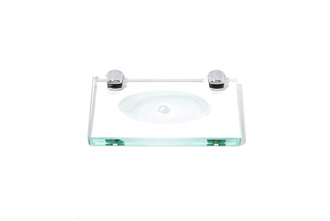 Saboneteira em Vidro Incolor Lapidado - Aquabox  - 14cmx9cmx8mm.