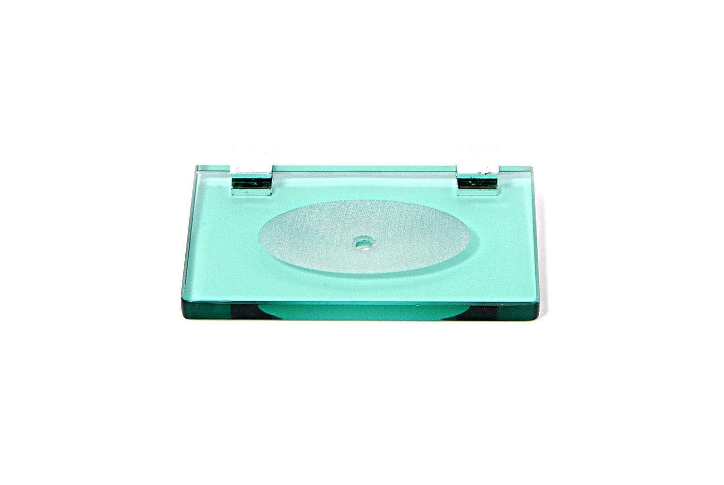 Saboneteira em Vidro Verde Lapidado - Aquabox  - 14cmx9cmx10mm.