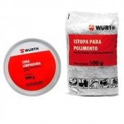 Cera Automotiva Limpadora Carnaúba + Estopa Polimento Wurth