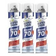 Kit 3 Alcool 70% Super Dom Spray 300ml