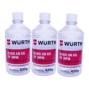Kit 3 Alcool Gel 70 INPM Wurth 430g