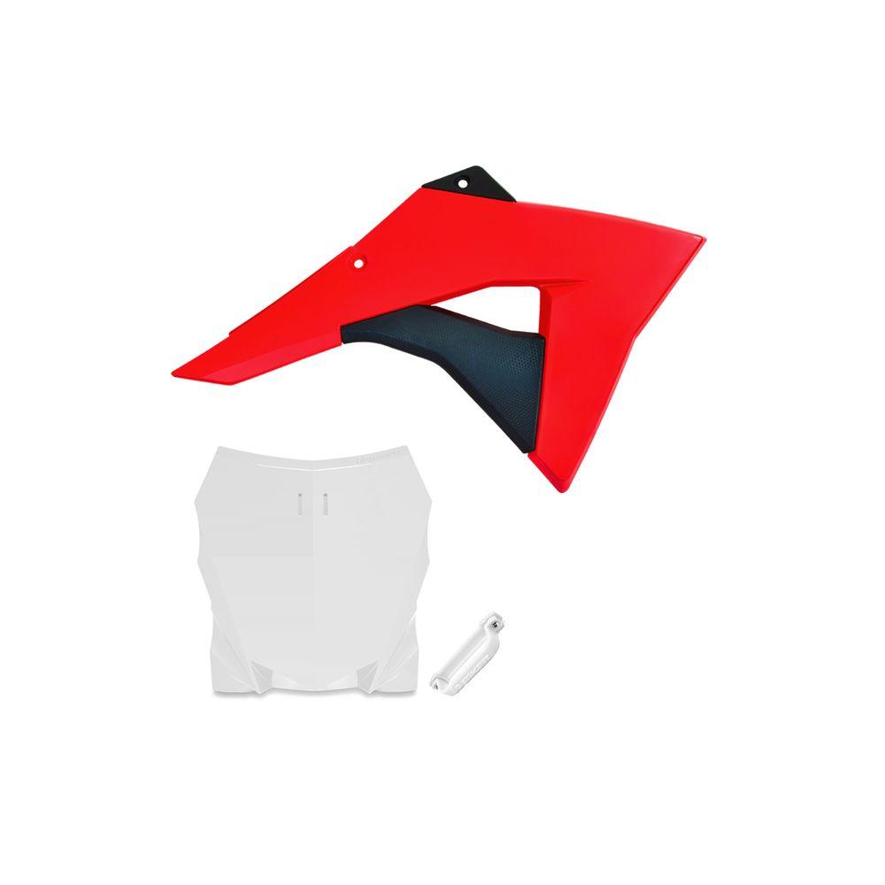 Aleta do Tanque CRF230 Vermelha + Number C/ Passa Cabo Biker - Branco
