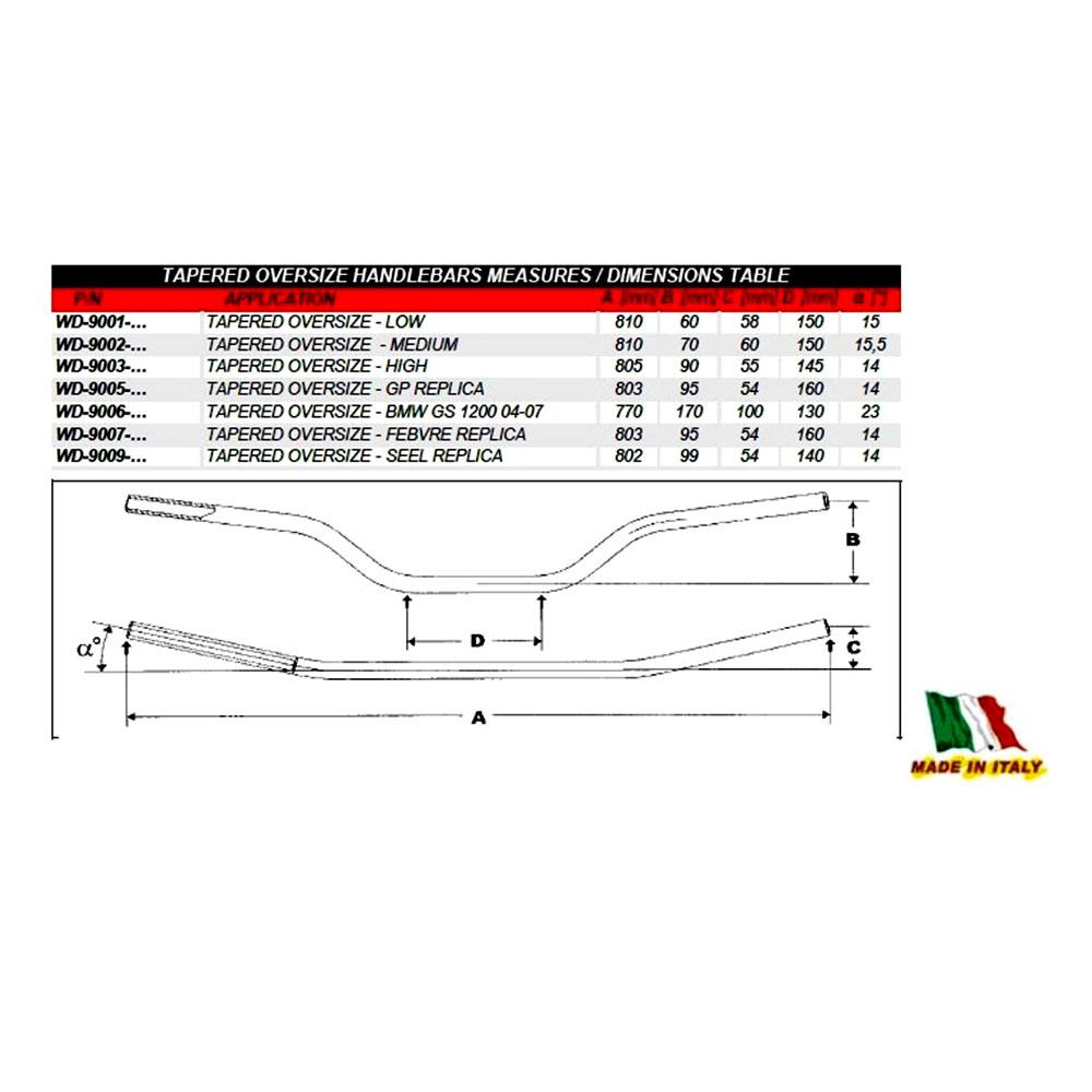 Guidão 28mm Alto WRP Pro-Bar Oversize - Preto