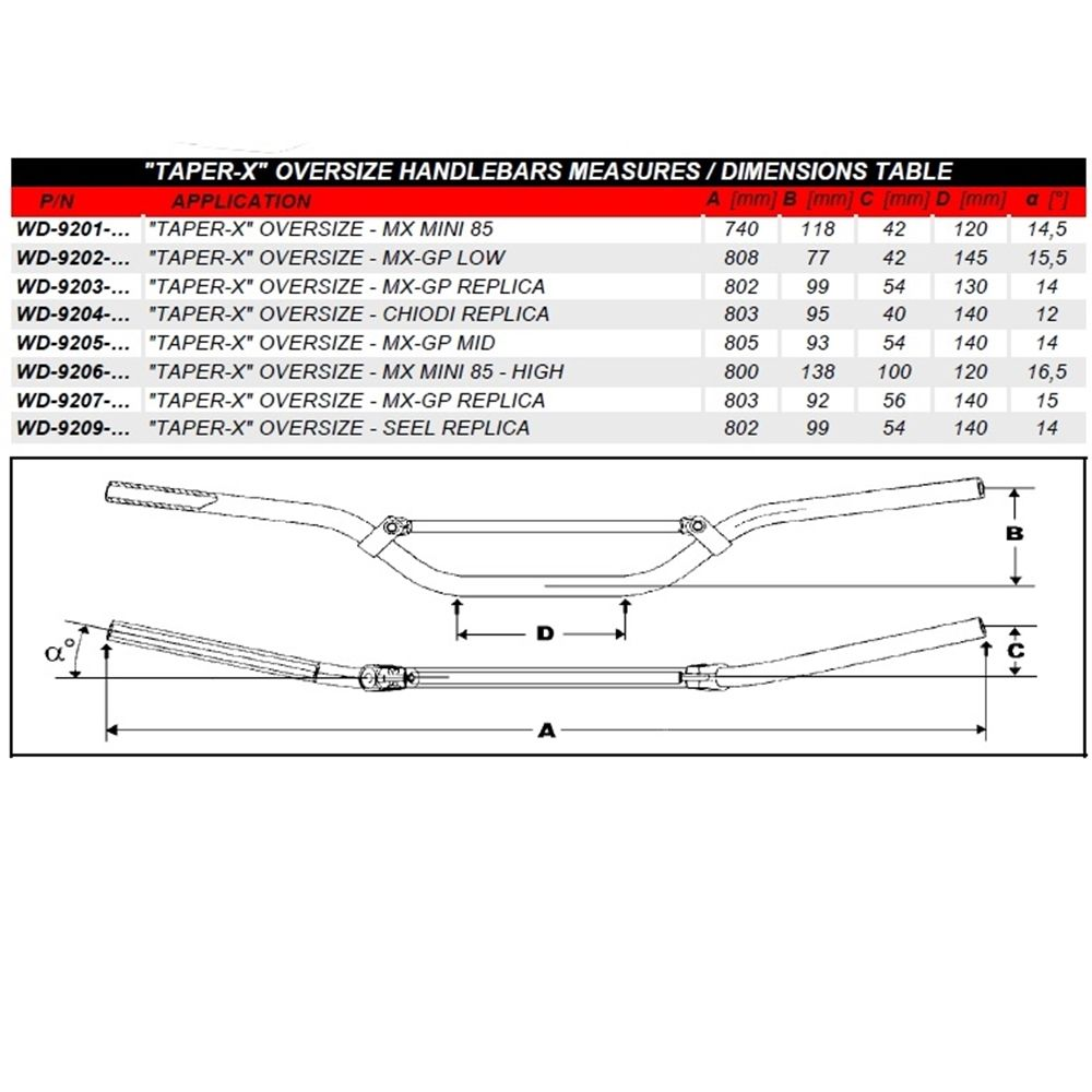 Guidão 28mm Chiodi 06 Replica WRP Taper-X  Oversize MX/Enduro - Titânio