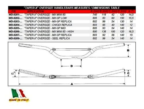 Guidão 28mm GP Réplica WRP Taper-X Oversize MX/Enduro - Vermelho