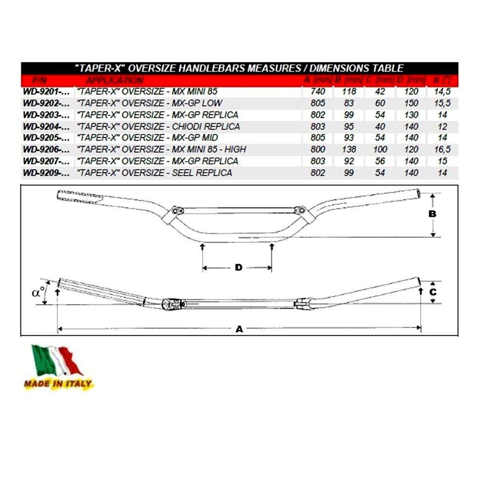 Guidão 28mm Mini 85 WRP Taper-X Oversize MX/Enduro  - Preto