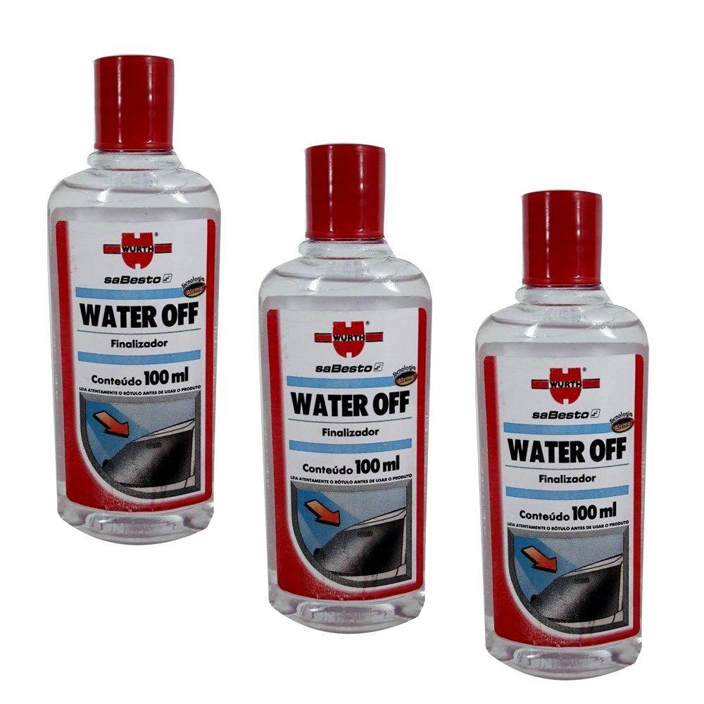 Kit 03 und. Water Off Cristalizador Repelente de Água Wurth - 100ml