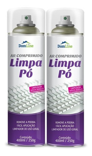 Kit 2 Ar Comprimido Limpa Pó DomLine Spray 400ml