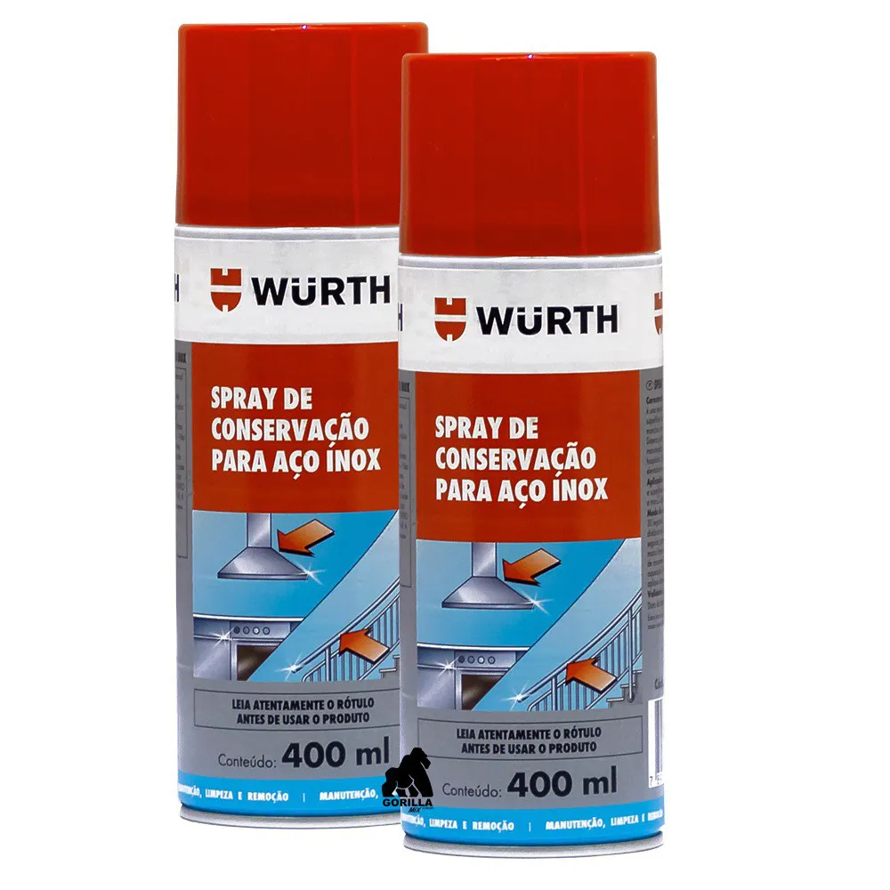 Kit 2 Spray para Manutenção de Aço Inox Wurth - 400ml