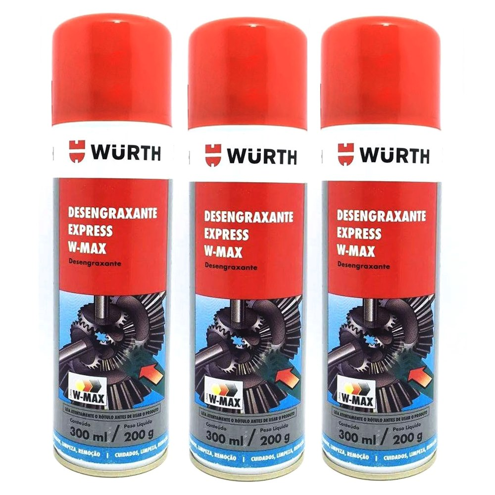 Kit 3 Desengraxante Express Spray W-Max Wurth 300ml