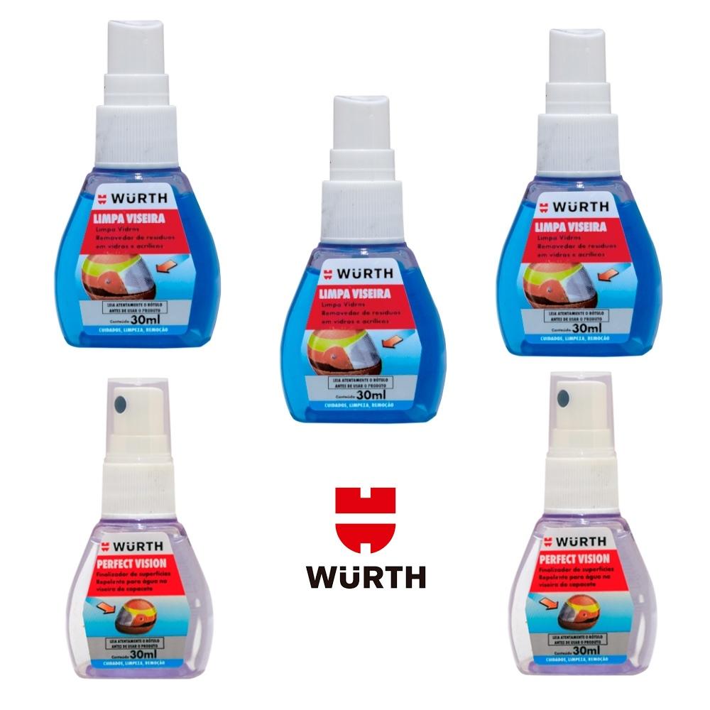 Kit 3 Limpa Viseira e 2 Repelente Wurth - 30ml