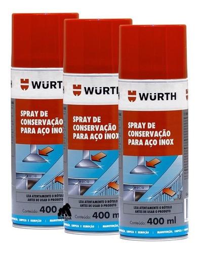 Kit 3 Spray para Manutenção de Aço Inox Wurth - 400ml