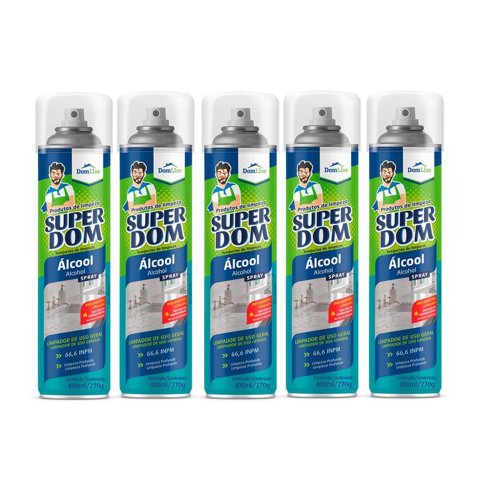 Kit 5 Álcool 70% 66,6 INPM Spray Super DomLine 400ml