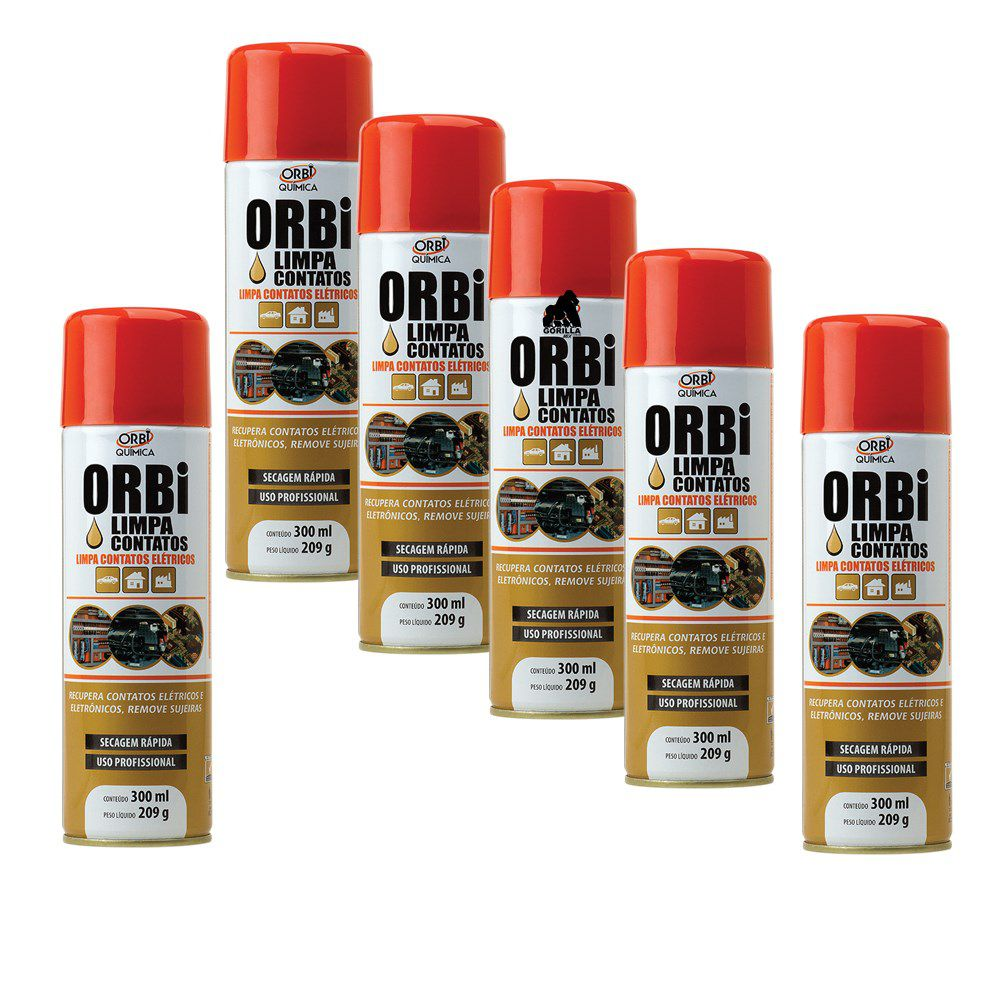 Kit 6 Limpa Contatos Orbi Spray - 300ml