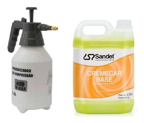Kit Limpeza 01 Shampoo CremeCar 5l + Pulverizador Manual