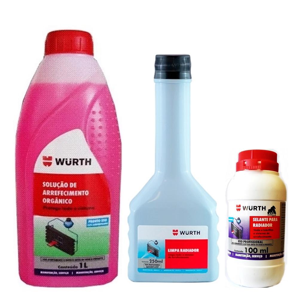 Kit Manutenção Radiador Fluido 33% + Limpa + Selante Wurth