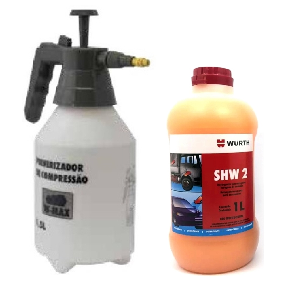 Kit Shampoo Automotivo Com Cera SHW2 1L + Pulverizador 1,5L Wurth