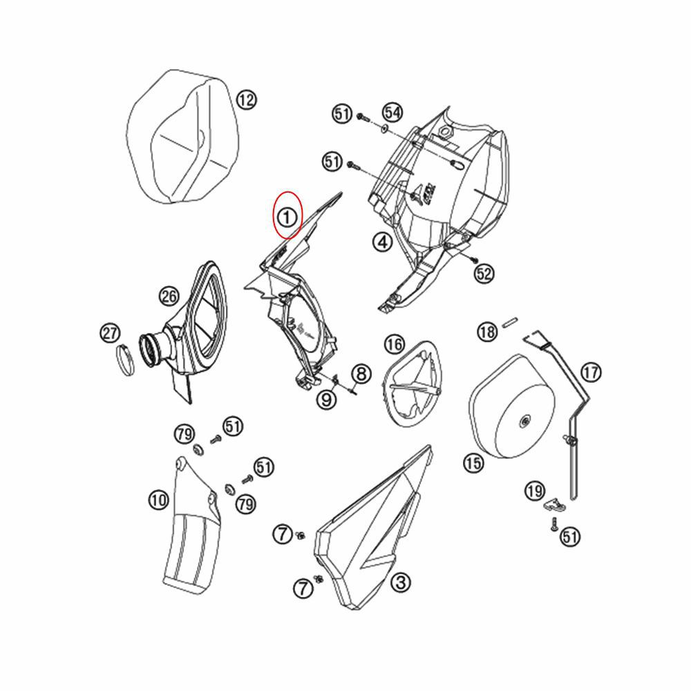 Lateral da Caixa do Filtro de Ar Direita KTM 125-560 03-07 - 54806001051