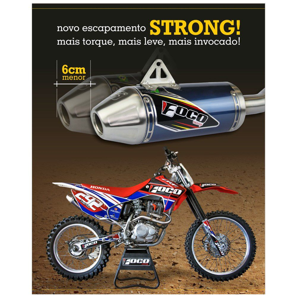 Ponteira + Curva De Escapamento CRF 230 Strong Foco Racing - Azul Royal