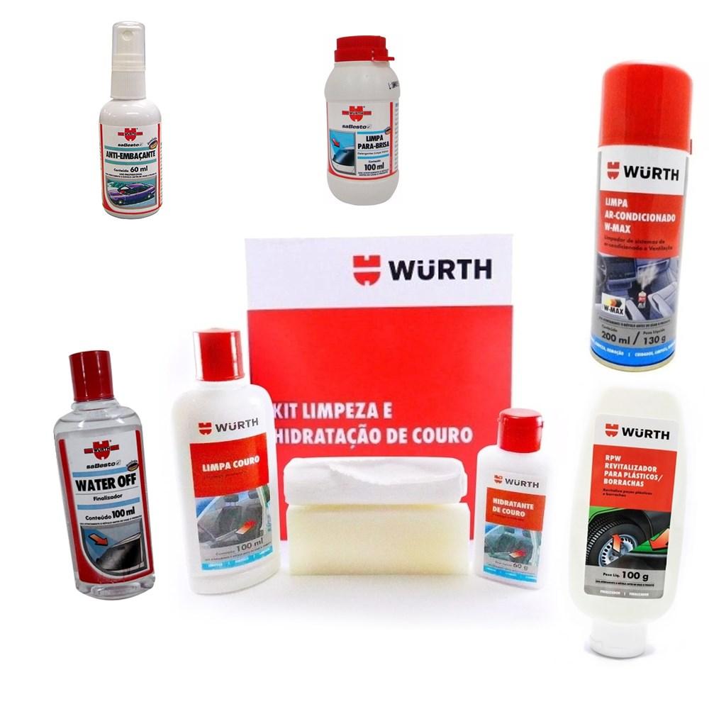 Super Kit Automotivo Wurth - Ar Condicionado + Para-brisa + Couro + Plástico