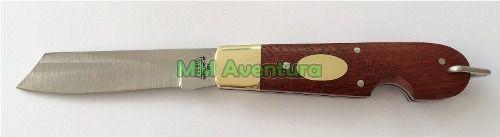Canivete Zebu Barretos 637 Aço Inox Madeira e Latão c/ Bainha